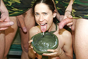 Chick gets soldiers cumshot.
